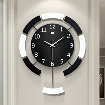 Simple Modern Wall Clock with Pendulum Silent Nordic Personality Metal Wall Clock Creative Orologio Parete Home Decor MM60WC