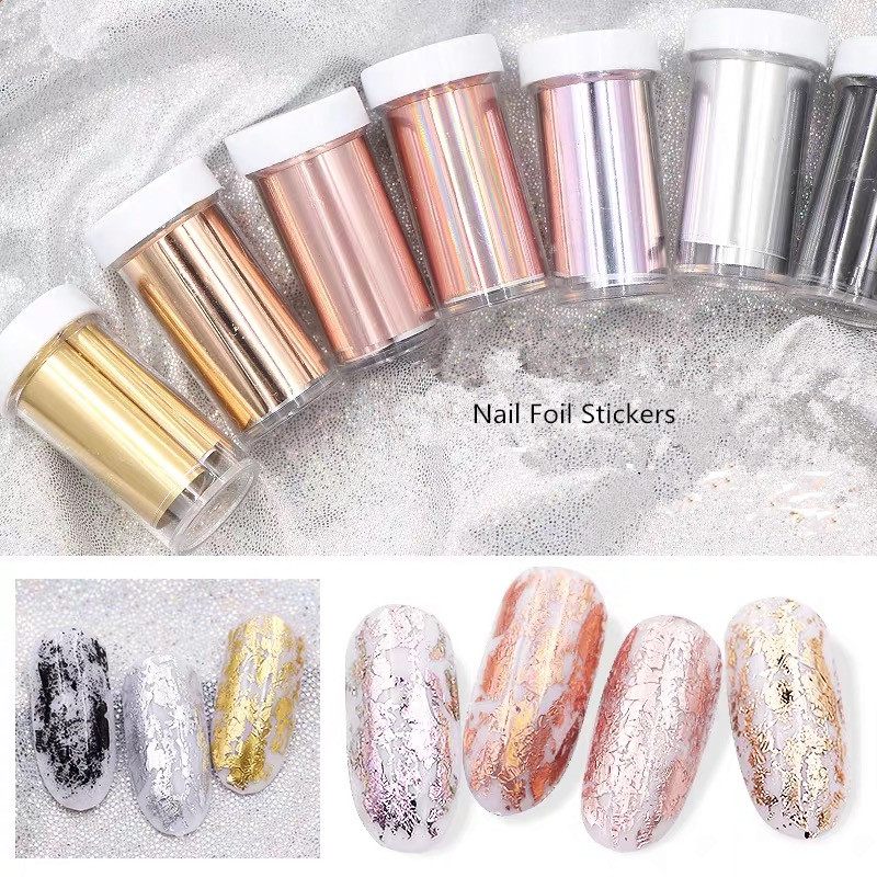 1 Roll 4*100cm Rose Gold Nail Transfer Foils Stickers Decorations Nail Art Polish Wraps Decals For Manicure DIY Nailart Design