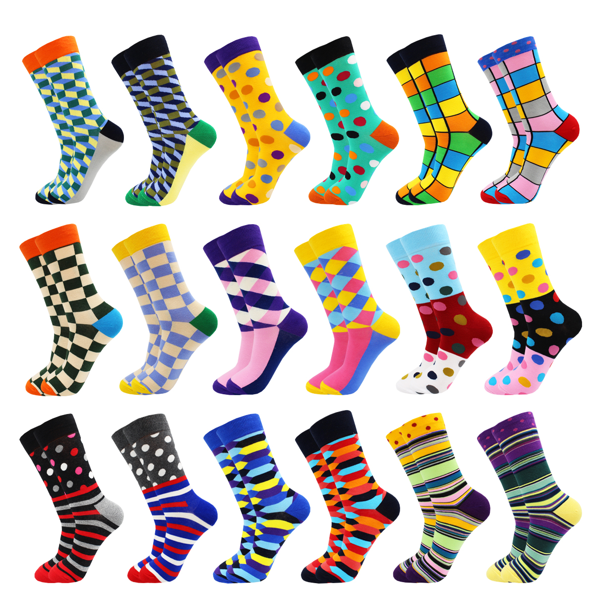 Colorful Novelty Fashion Stripe Cotton Mens Socks Hip Hop Happy Kawaii Dot Plaid Sloth Animal Food Pink  Funny Casual Socks Men