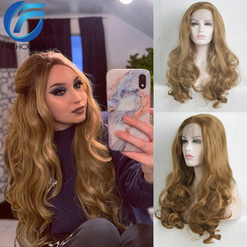 FACHOUFEE Brown Color Lace Front Wigs for Women Long Wavy Synthetic Hair Wigs Affordable Colored Wigs for Party 1