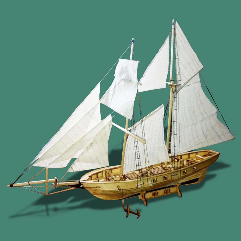 None Assembling Building Kits Ship Model Wooden Sailboat Toys Harvey Sailing Model Assembled Wooden Kit DIY