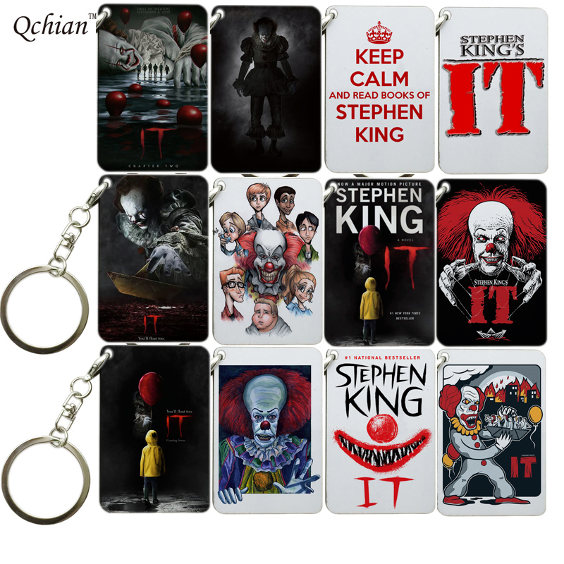 Horror Clown Keychain Stephen King It Key Ring Gift For Women Girls Bag Pendant Charms Wooden Key Chains Jewelry Porte Clef