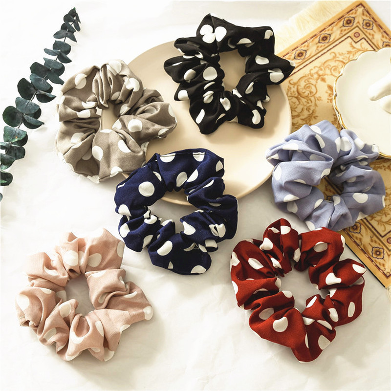 Polka Dot Printing Chiffon Scrunchies Stretch Ponytail Holders Hair Ties Printing