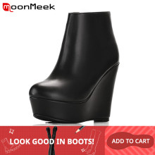 MoonMeek 2020 mode herbst winter stiefel frauen genuine ankle stiefel leder high heels stiefel(China)