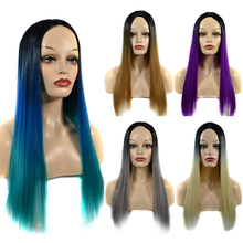 Long Straight Wig Synthetic Wigs for Women With Middle Part Heat Resistant Cosplay Wig Orange Color Ombre Color Synthetic Hair ultra long center part straight synthetic wig