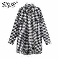 Women Vintage Houndstooth Plaid Tweed Woolen Jacket 2019 ladies retro zipper decorate outwear coat chic leisure loose Tops