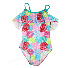 цены New Girls One Piece Swimsuit Girl Geometric Flower Swimwear 6-14 Y Children Swimming Wear Kids Bathing Suit Child Beach Suit