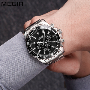 Image 2 - Megir Men Watch Sport Stainless Steel Analog Quartz Wristwatch Multifunction Chronograph Relojes Masculino Hombre Clock man 2018