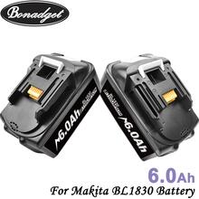 Bonadget 2 sztuka akumulator 18V 6000Ah Li-ion bateria do narzędzi Makita BL1830 BL1815 BL1860 BL1840 194205-3 elektronarzędzia akumulator tanie tanio For Makita BL1830 Other Baterie Tylko Pryzmatyczny For Makita BL1830 BL1815 BL1860 BL1840 6000mah 6 0Ah Replacement Li-ion Battery