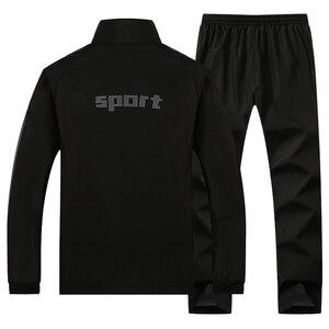 Image 5 - 男性のセットカジュアル新秋男性のスポーツウェアのジッパージャケット + スウェットパンツ 2 個セット男性スリムフィットスポーツスーツ生き抜く