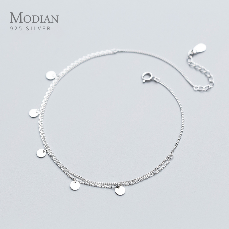 Modian Simple Double Layer Link Chain Anklet for Women Real 925 Sterling Silver Geometric Sequins Anklet Fashion Fine Jewelry