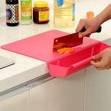 Овощи разделочная кухонная доска 2-в-1 для хранения с счетчик края разделочная доска с мусорный бак Пластик утепленные разделочная доска