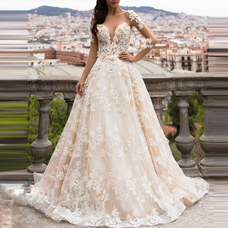 Casamento Beaded Wedding Gowns Long Floral Bridal Dresses Vestido De Noiva Appliques Wedding Dress 2019 Open Back Custom