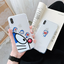 Japan Cartoon Doraemon Simple cute Anime bumper Phone case silicone cover for coque iPhone 7 Plus 6 8 6s X XR xs max