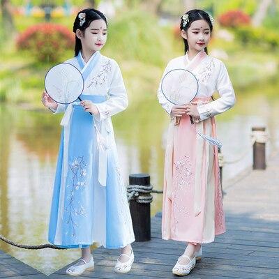 2020 Hanfu Mulheres Woman Plum Hanfu Costume Dress Fairy Skirt Fresh And Elegant Girl Kids Hanfu Clothing Chinese Style