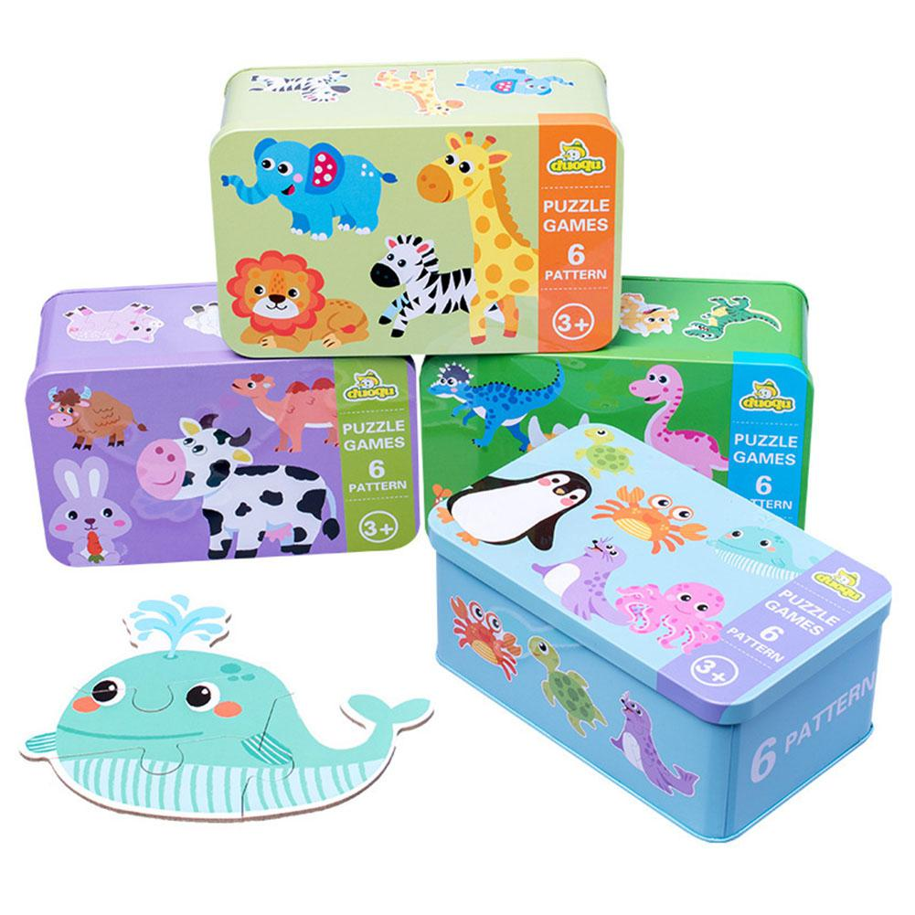 6 In 1 Kids Baby Cartoon Animal Pattern Puzzles Early Education Wood Toy