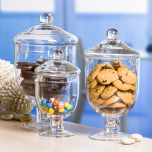 Nordic style Transparent glass candy jar Food dessert storage bottles tank glass containers with lid home decoration storage jar