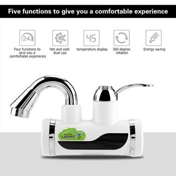 Electric Water Heater Faucet Kitchen Instantaneous Hot Water Tap Tankless Shower Water Heating with Temperature Display EU plug bdp3000w 4 earth leakage protection plug digital display tankless electric faucet kitchen faucet water heater