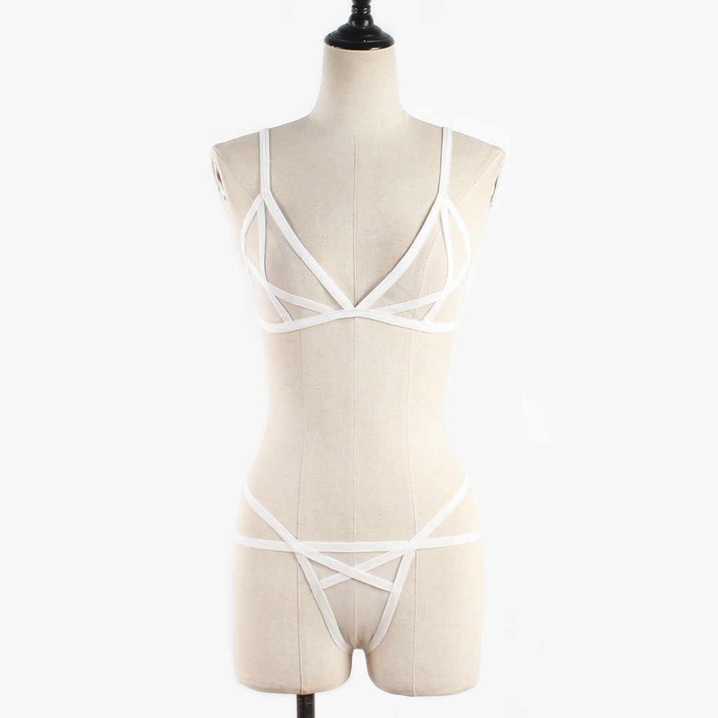 Vrouwen Sexy Lingerie Corset Effen Mesh Beugel Mousseline Nachtkleding Ondergoed Set Sexy Lingerie Set Verleiding Kant Push Up