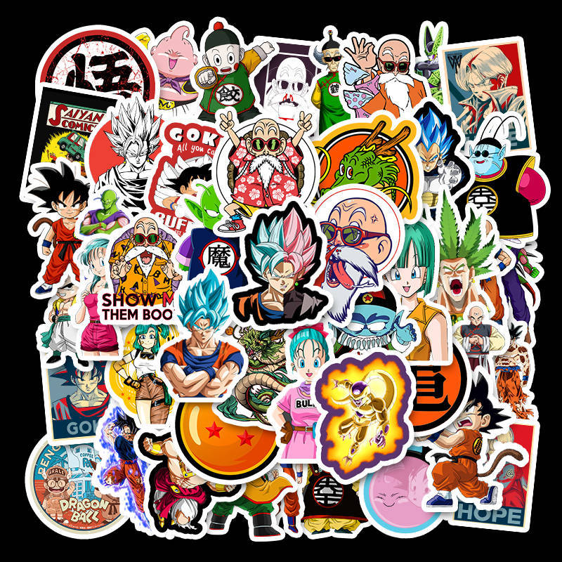 50Pcs Japan Anime Dragon Ball Stickers Super Saiyan Goku Sticker Decal for Luggage Snowboard Car Fridge Car- Styling Laptop