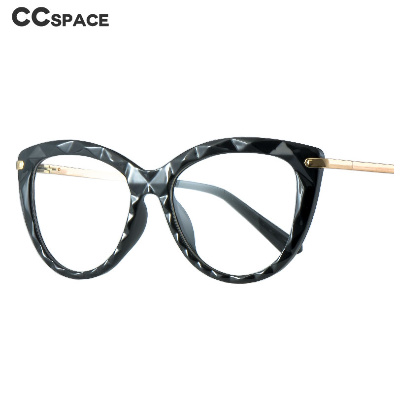 51009 Plastic Titanium Glasses Frames Cat Eye Women Diamond Bump Optical Fashion Computer Glasses