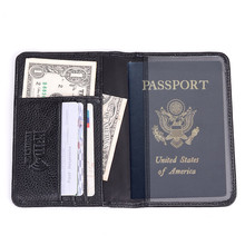 Genuine Leather Passport Wallet RFID Protection Credit Card Holder High Quality Travel Passport Cover Case Black Wallet Men R6 high quality pu leather passport cover fashion alligator embossing travel passport case men women id credit card holder wallet