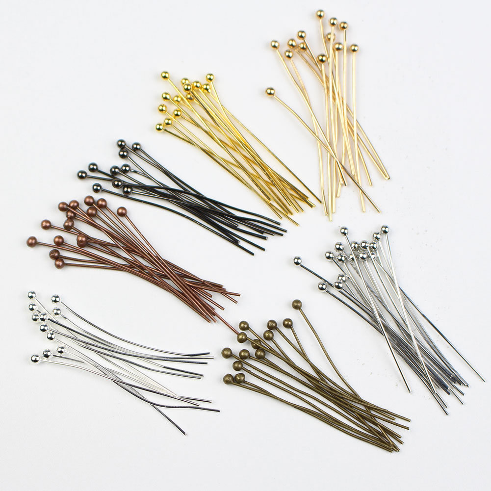 200pcs/lot 16 20 25 30 35 40 50 mm Gold Silver Metal Copper Ball Head Pins for Diy Jewelry Making Findings Supplies Dia 0.5mm