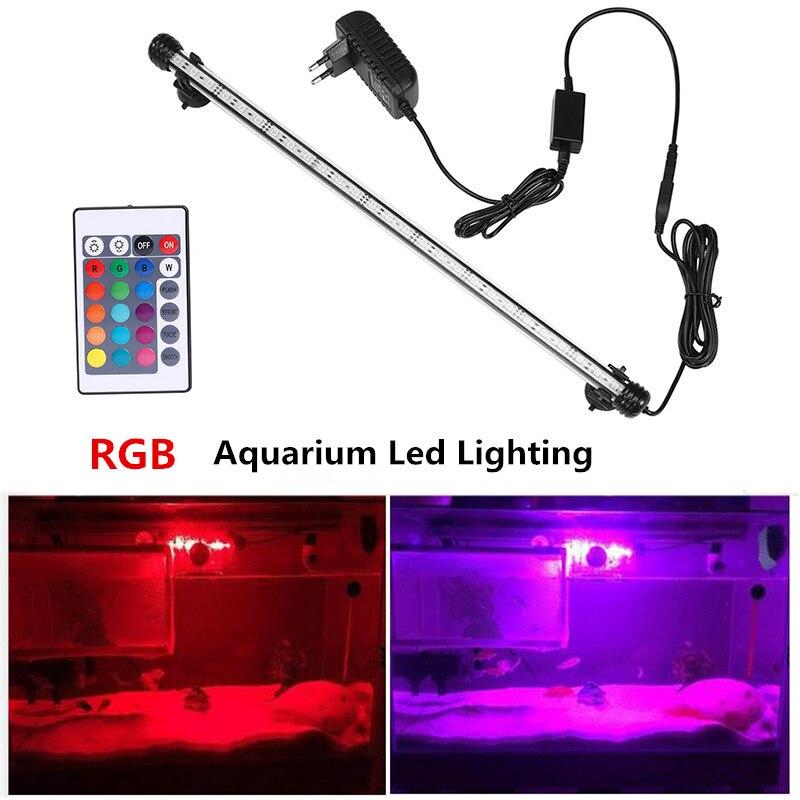 EU US Plug RGB Remote Aquarium Light Fish Tank Waterproof 5050 SMD LED Bar Light Aquatic Lamp Aquatic Decor Submersible 19-49CM