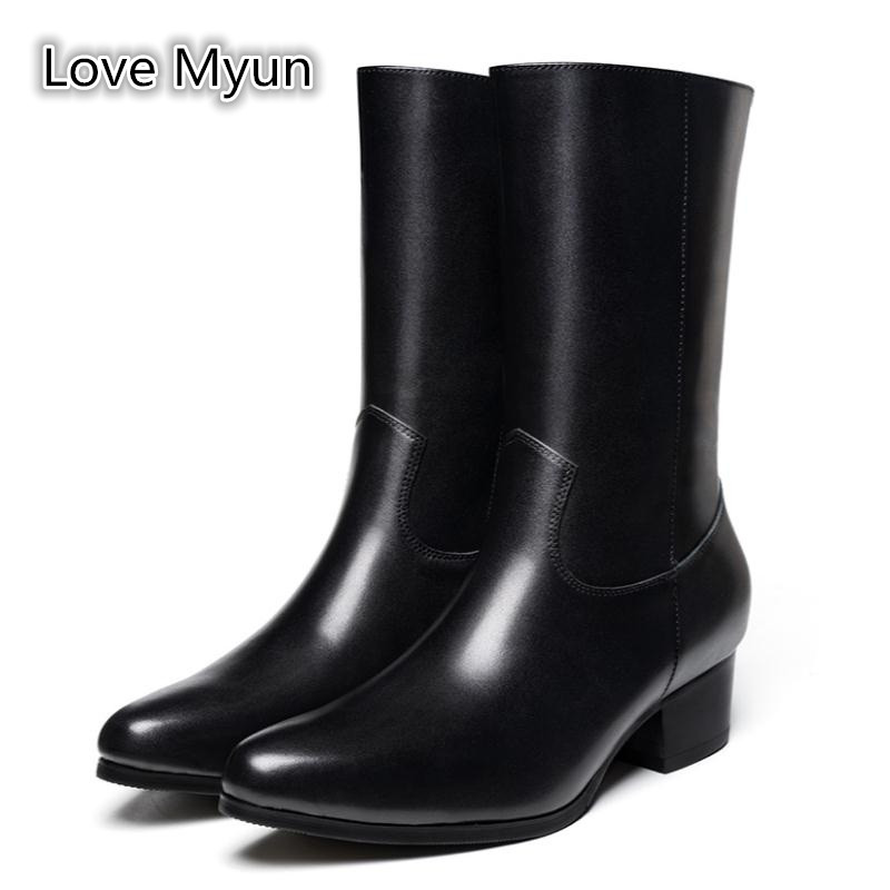 Autumn Winter Men Genuine Leather High Boots 5cm Heels Britain Fashion Pointed Toe Dress Chelsea Boots Men's Warm Snow Boots
