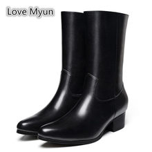Autumn Winter Men Genuine Leather High Boots 5cm Heels Britain Fashion Pointed Toe Dress Chelsea Boots Men's Warm Snow Boots(China)