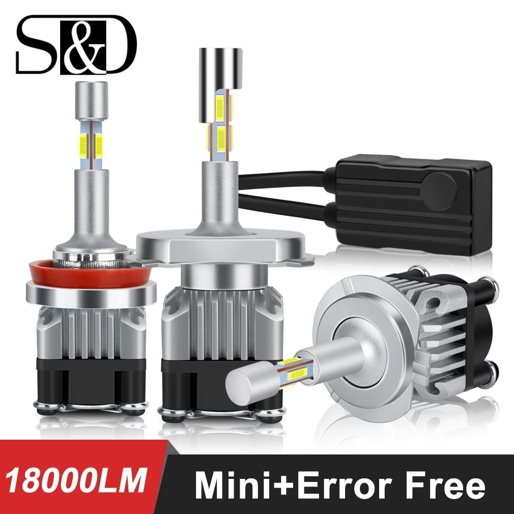 Mini 4 Côtés H1 H4 H7 LED H11 HB3 9005 HB4 9006 Voiture ampoules de phares LED Canbus Sans Erreur 6000K Auto Phare 12V