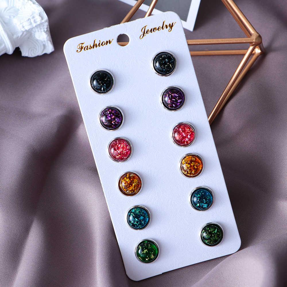 6 para 2019 nowa moda 12mm Druzy Opal oko konia Amber kolczyki na sztyft imitacja klejnot biżuteria kolczyki dla kobiet sprzedaż hurtowa Brincos