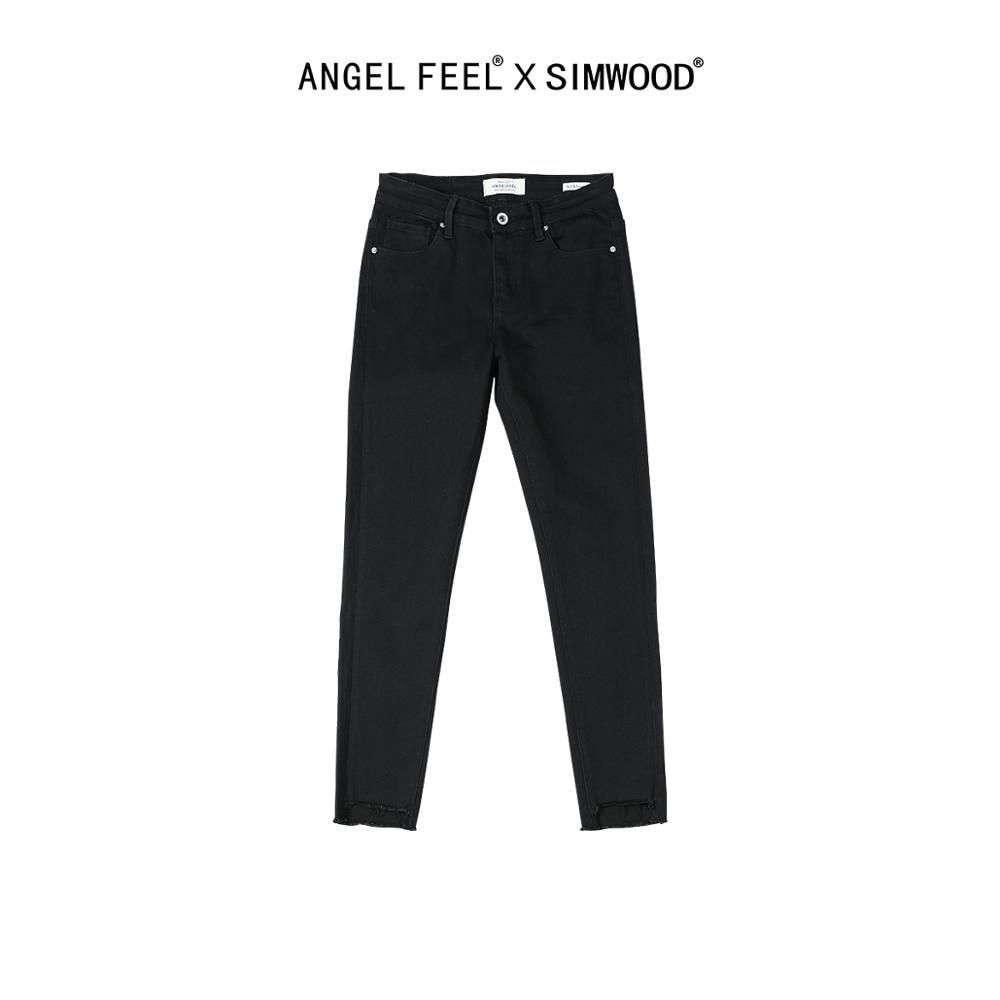 SIMWOOD 2020 Spring Summer New Jeans Women Fashion Skinny Black Denim Pants Special Leg Opening  Elastic Woman Pants