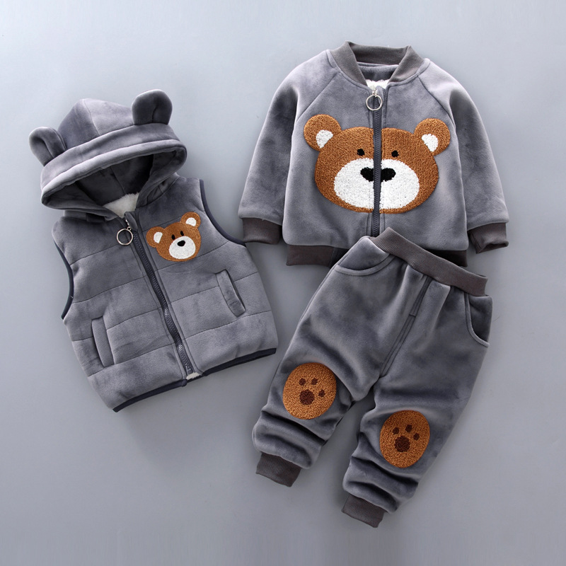 Baby boy clothes cotton warm suit cartoon dinosaur plus velvet thick hooded sweater baby casual sports sweater vest three-piece