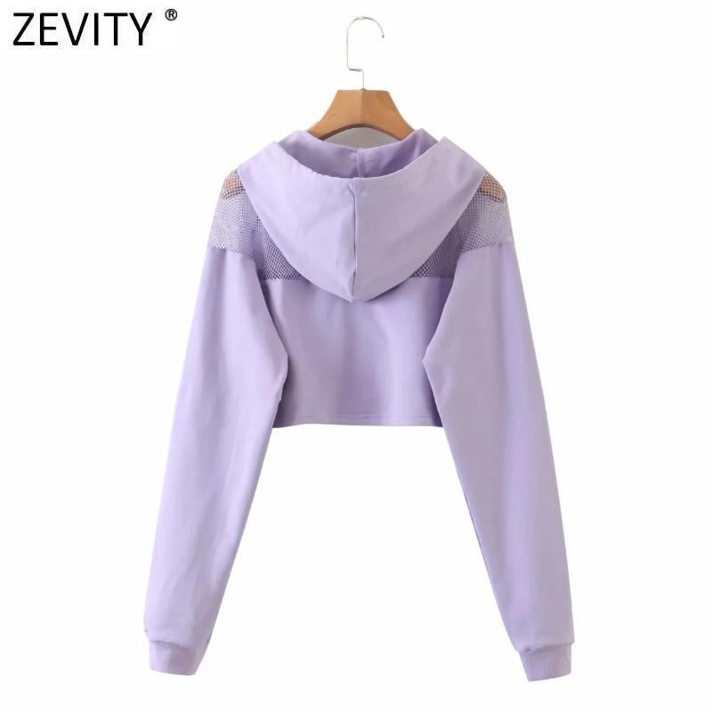 Zevity New Women fashion mesh stitching casual short hooded sweatshirts ladies letters print leisure crop hoodies chic tops S350 2