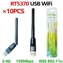 [10 pces] usb wifi 5370 ralink rt5370 chip polybag embalagem 150mbps 2.4ghz wifi cartão usb2.0 rotativo adaptador wi-fi sem fio usb