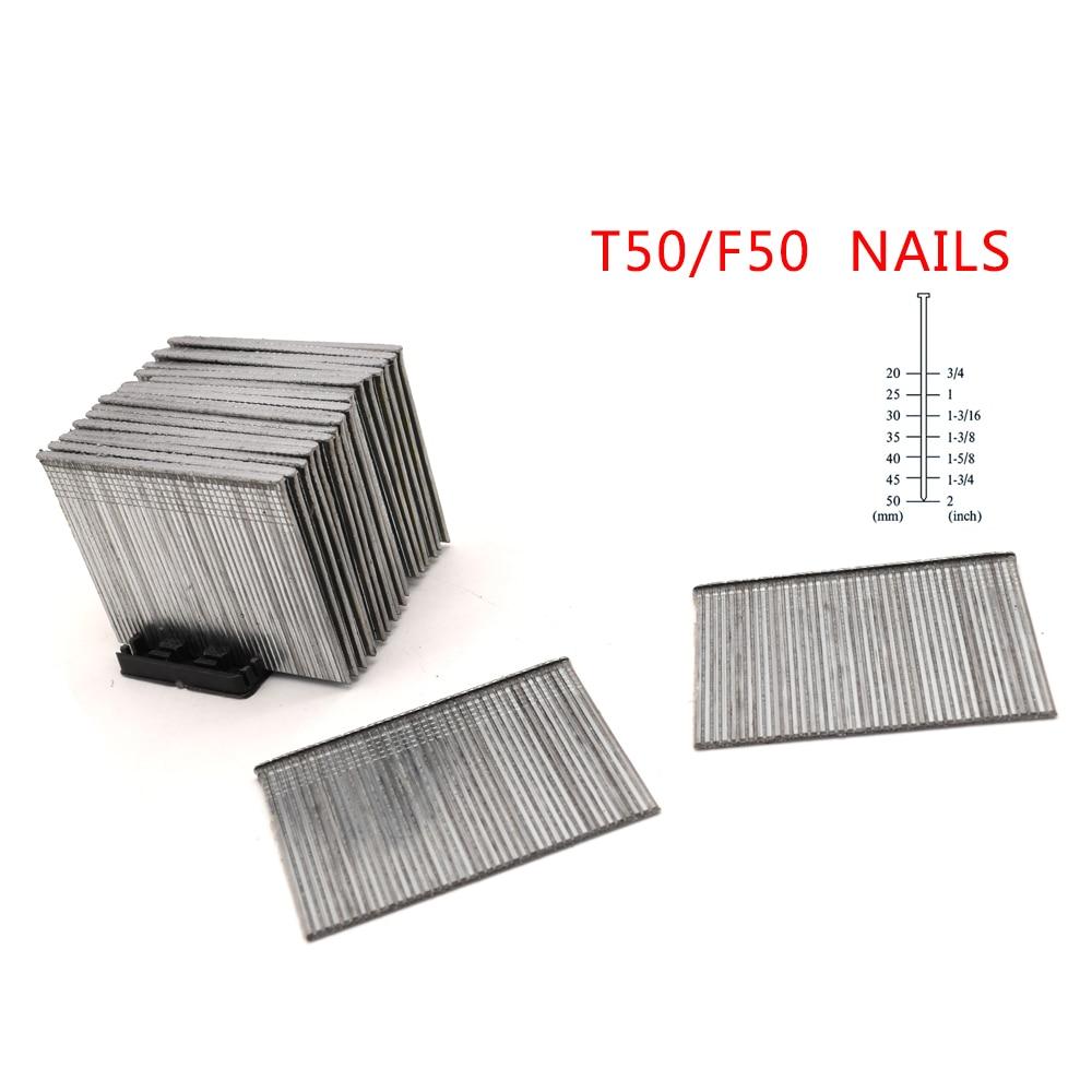 800pcs 2 Inch -50mm T50/F50 Nails For Framing Tacker Nail Stapler Gun
