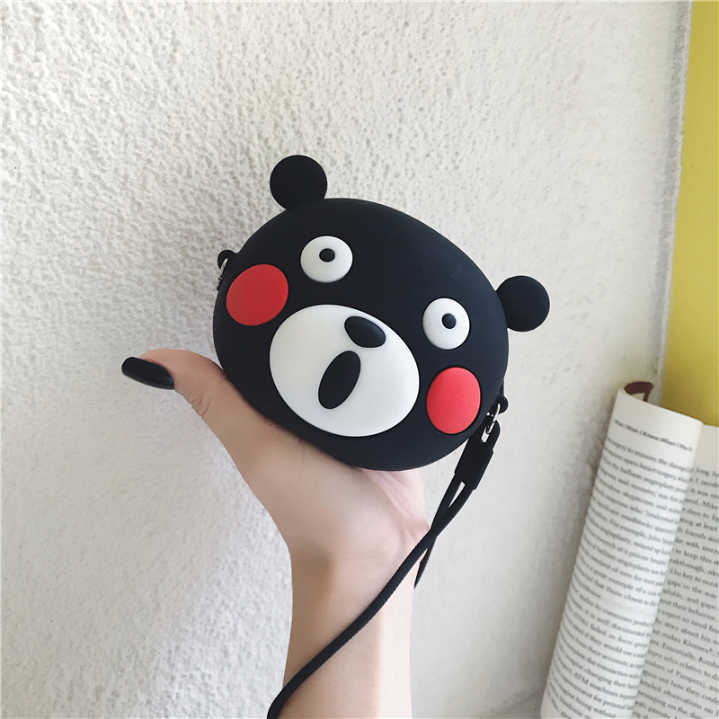 Fashion Business Card Holder Women Credit Card Bag Mini Silicone Coin Bag Girls Cute Cartoon Bear Card Wallet бложка на паспорт