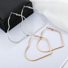 Trendy Female Oversize Heart Hoop Earrings For Women Personalized Metal Gold Silver Rose Gold Big Earrings Statement Jewelry недорого