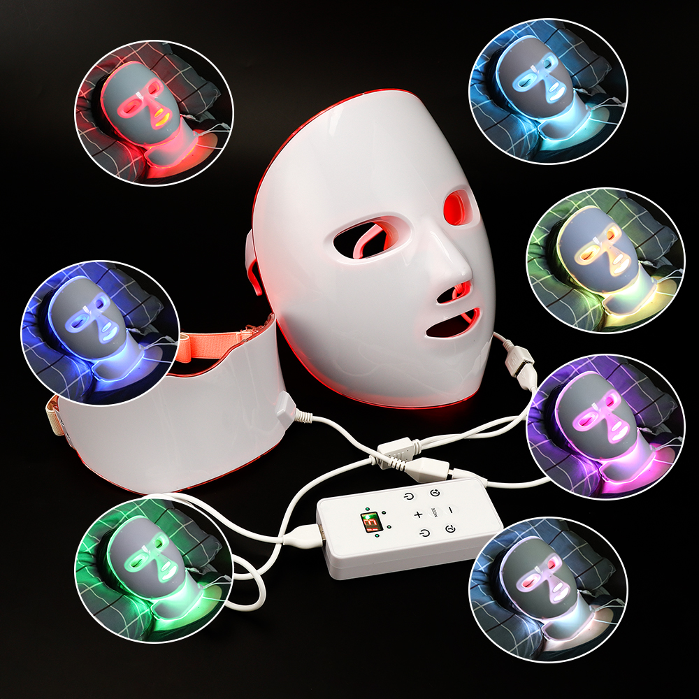 7 Colors LED Facial Skin Mask Beauty Skin Rejuvenation Photon Light Wrinkle Acne Removal Face Mask Skin Rejuvenation Therapy