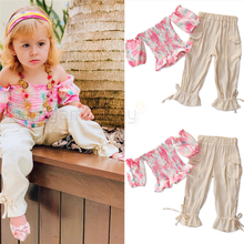 2020 Spring Summer Puff Sleeve Girls Clothes Set Off Shoulder Tops Blouses Causal Trousers Turnip Pants Baby Kids Girl Outfits new dew shoulder design clothes the horn sleeve beautiful stripe girls blouses