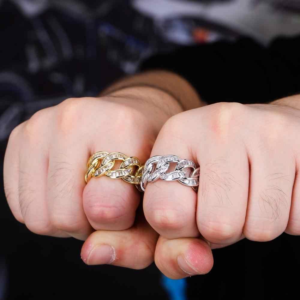 TOPGRILLZ nowy kubański Link łańcuch pierścień męska Bling Bling Iced Out Cubic cyrkon Hip Hop Punk pierścionki przesadzone ulicy artysta pierścień