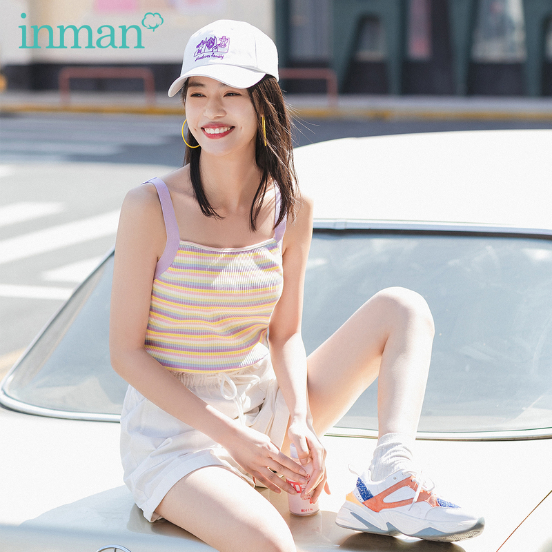 INMAN 2020 Summer New Arrival Contrast Color Stripe Girlish Sleeveless Gallus Vest
