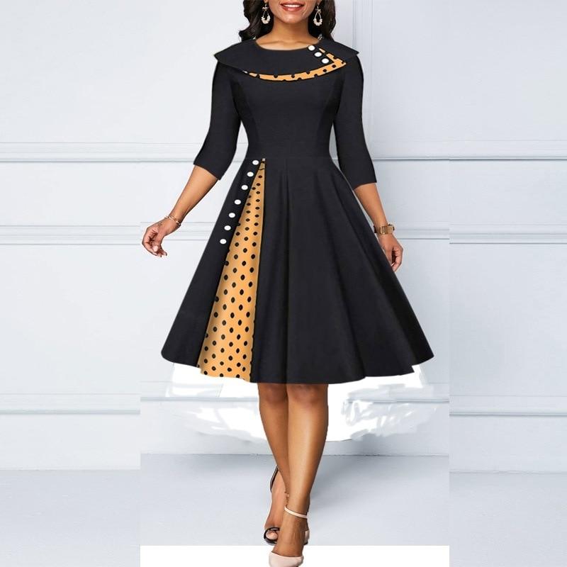 Women's temperament lapel polka dot stitching sleeves retro hip wrapped