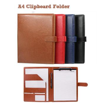 A4 Folder Covers PU Leather Document Folder Briefcase for Storing File Folder Organizer For School and Office Holder 1