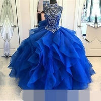 High Neck Crystal Beaded Bodice Corset Organza Layered Quinceanera Dresses Ball Gown 2019 Princess Prom Dress vestidos de 15