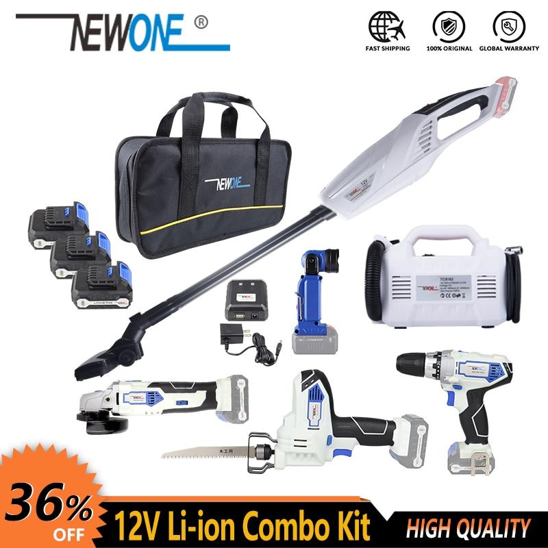 12V Cordless Electric Power Tool Combo Kit Drill/Screw Driver Angle Grinder Reciprocating Saw LED Flashlight Inflator/deflator