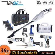 Kit de ferramenta elétrica sem fio de 12v, kit de broca/chave de fenda, moedor de ângulo, serra alternadora, inflador de lanterna led deflador