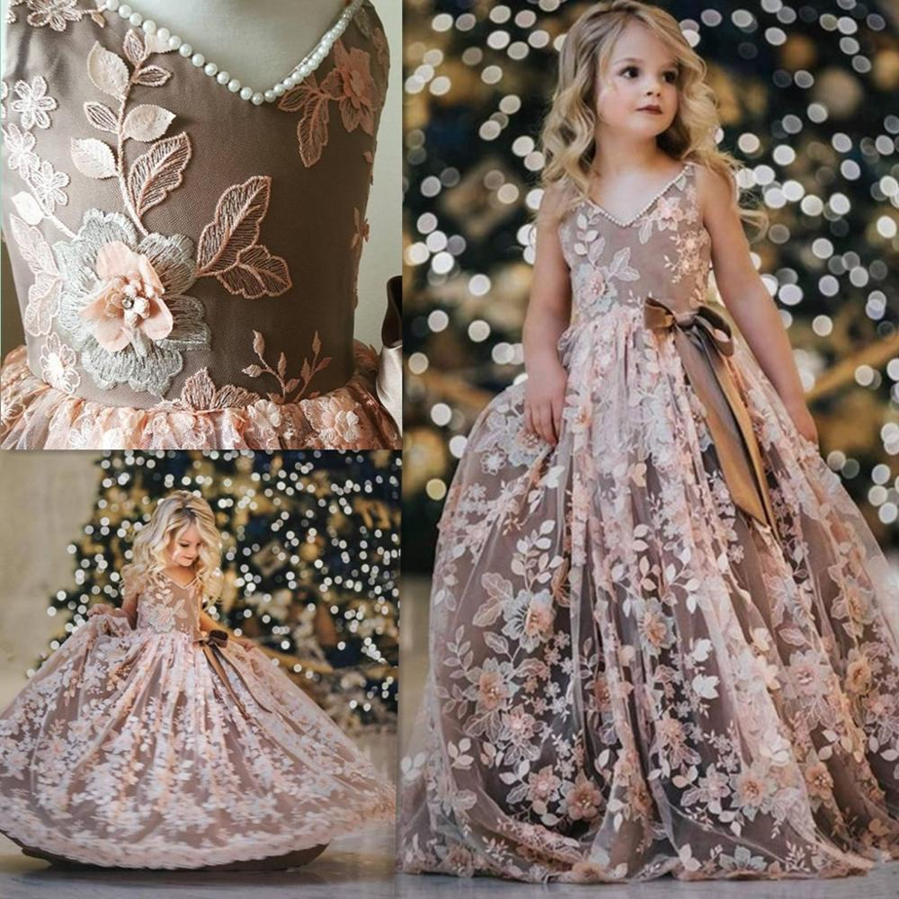 Luxury Flower Girls Dresses Appliques Pearls Kids Evening Gowns Tulle Sleeveless Girls Pageant Dress Custom Made