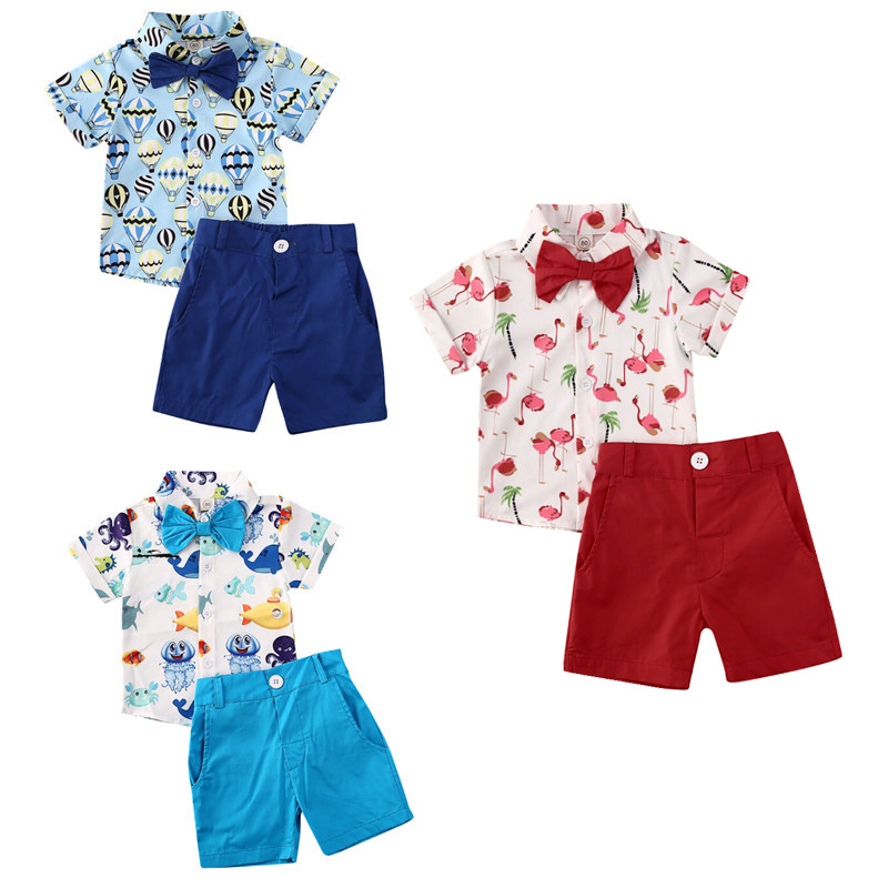 2pcs Toddler Kids Baby Boys Clothes Shark T-shirt Tops+Shorts Pants Outfits Set